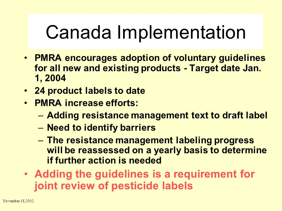 Canada Implementation