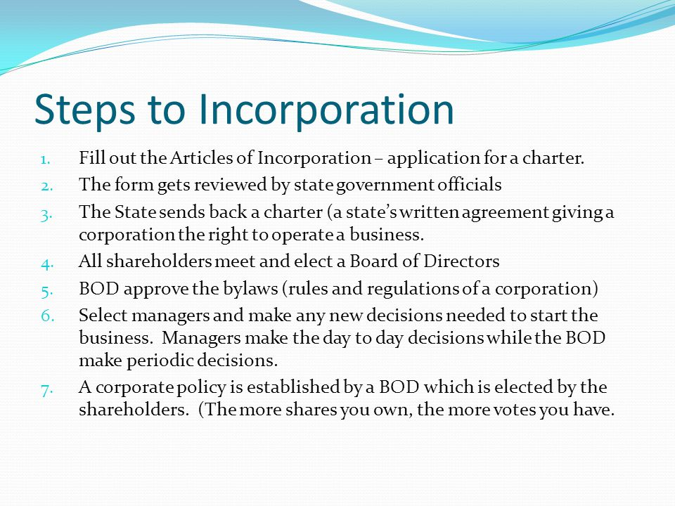 Steps to Incorporation