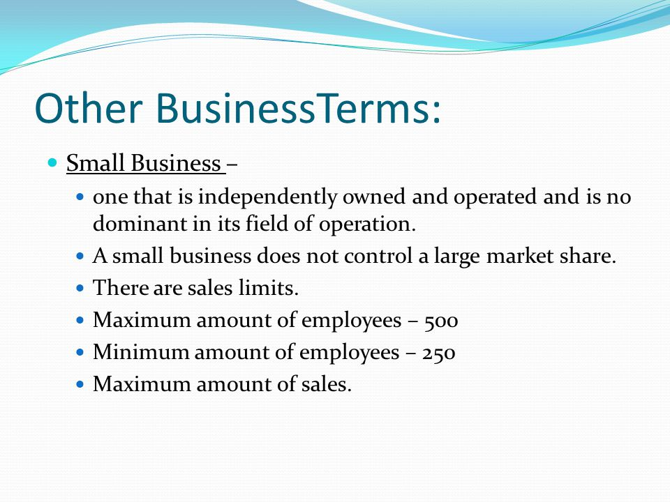 Other BusinessTerms: Small Business –