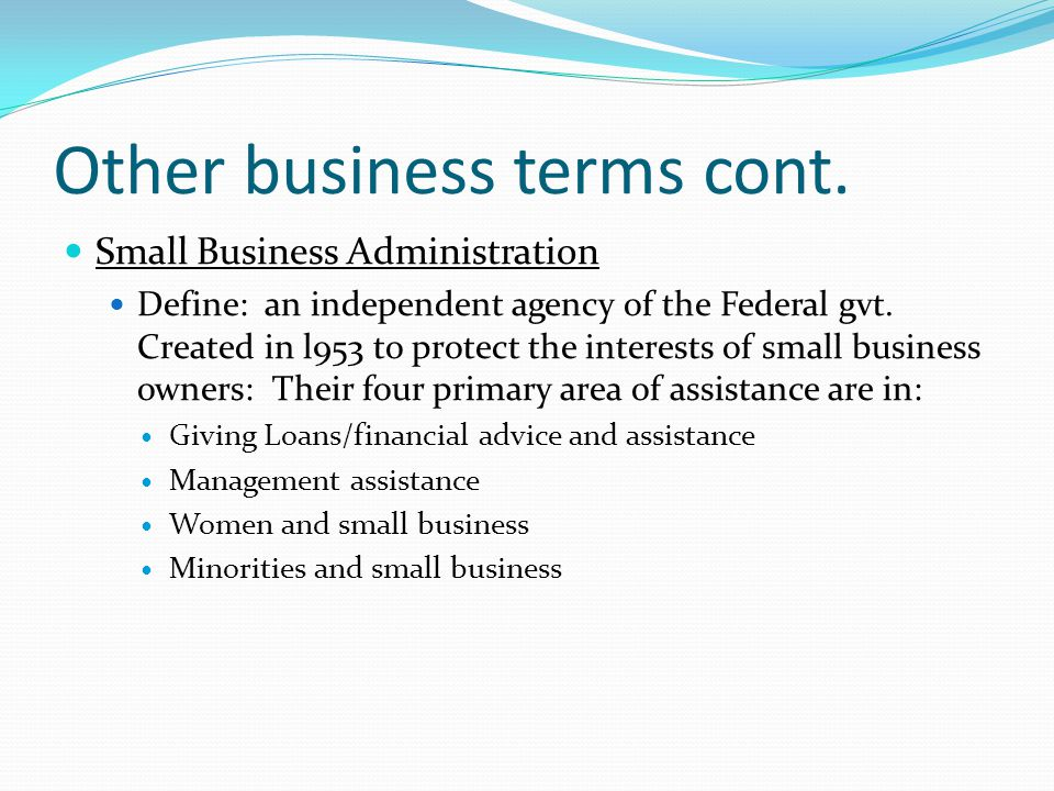 Other business terms cont.