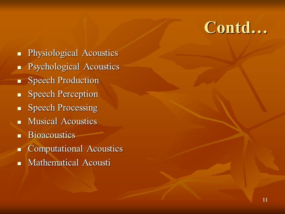 Contd… Physiological Acoustics Psychological Acoustics