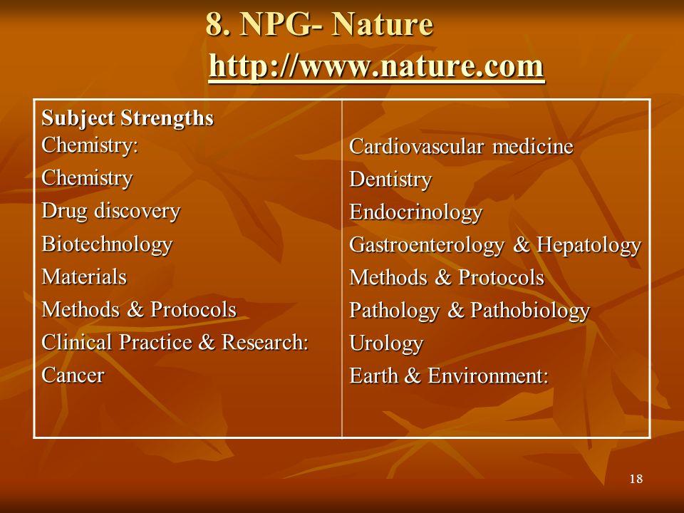 8. NPG- Nature http://www.nature.com