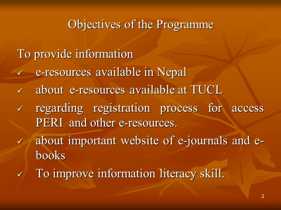 Objectives of the Programme