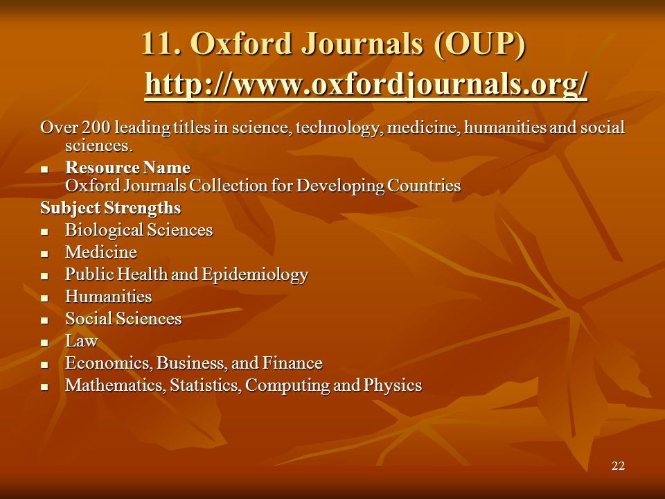 11. Oxford Journals (OUP) http://www.oxfordjournals.org/