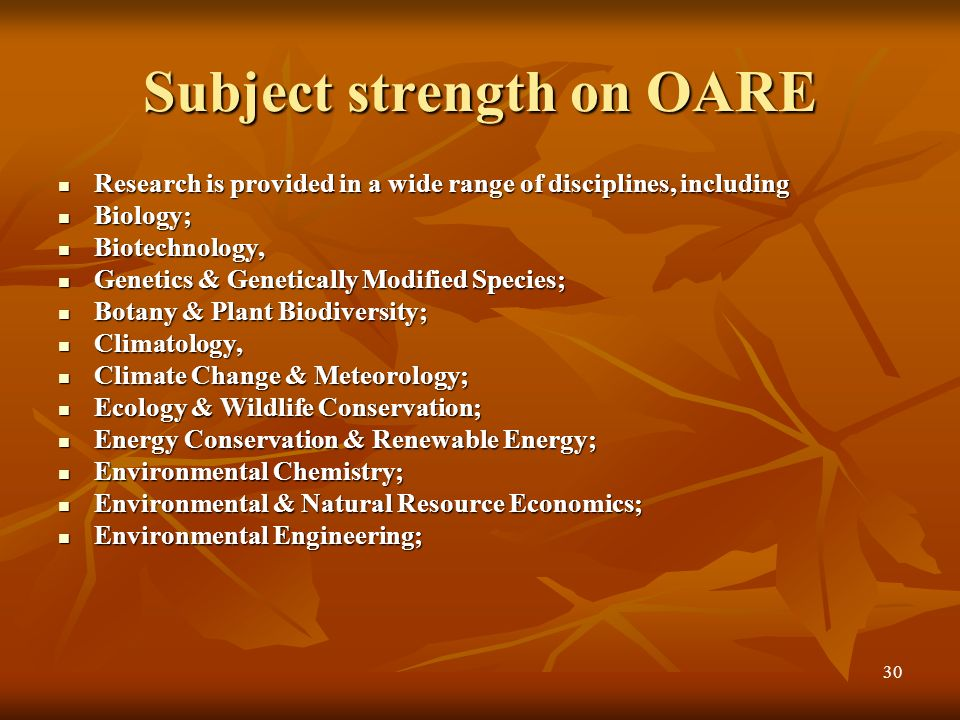 Subject strength on OARE