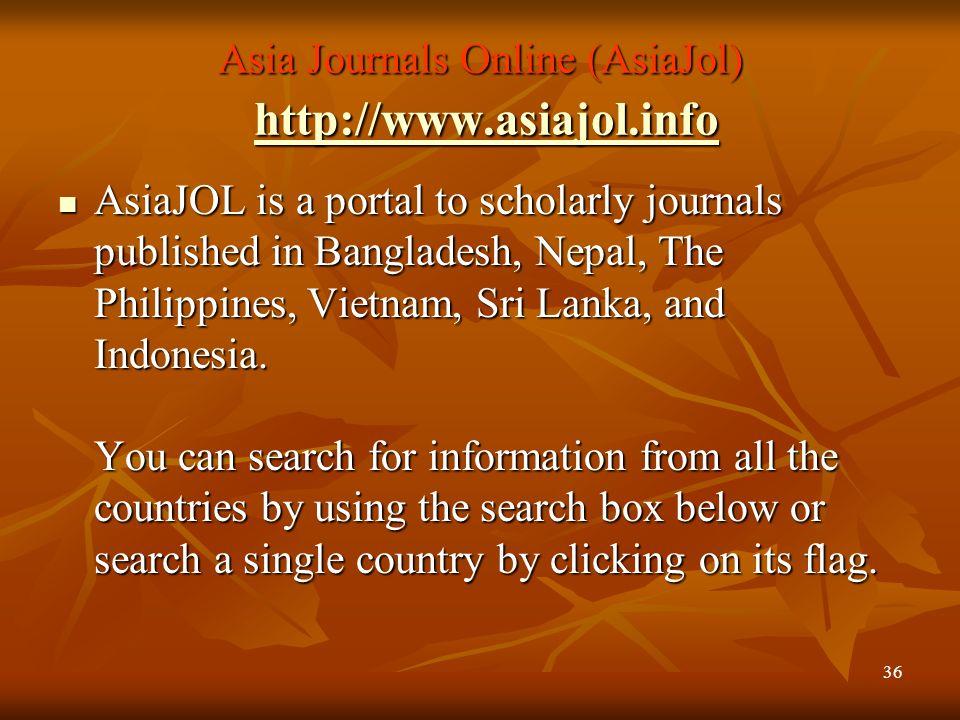 Asia Journals Online (AsiaJol) http://www.asiajol.info