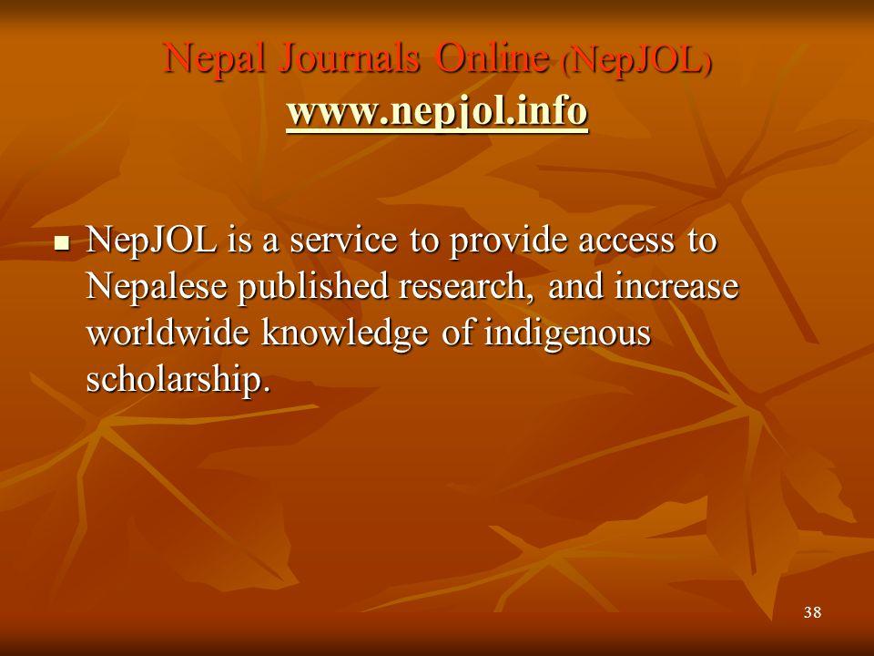 Nepal Journals Online (NepJOL) www.nepjol.info