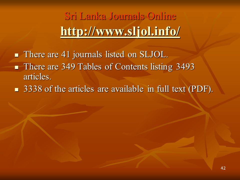 Sri Lanka Journals Online http://www.sljol.info/