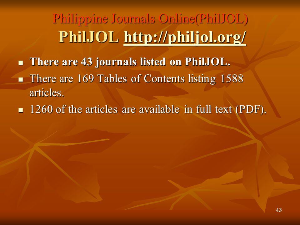 Philippine Journals Online(PhilJOL) PhilJOL http://philjol.org/