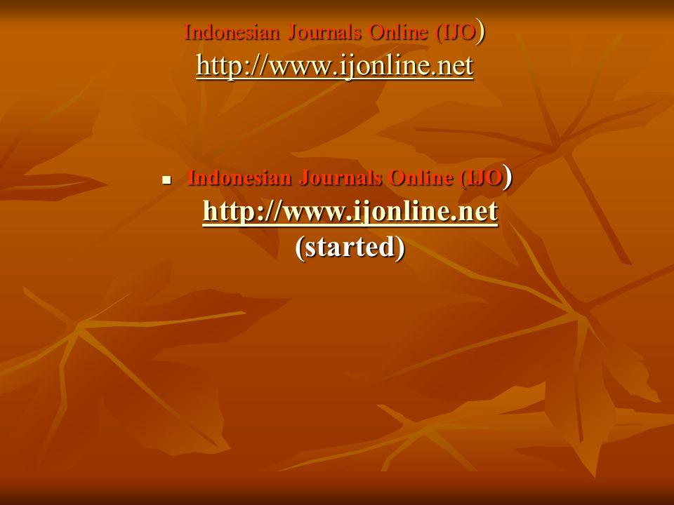 Indonesian Journals Online (IJO) http://www.ijonline.net