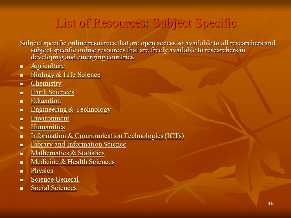 List of Resources: Subject Specific
