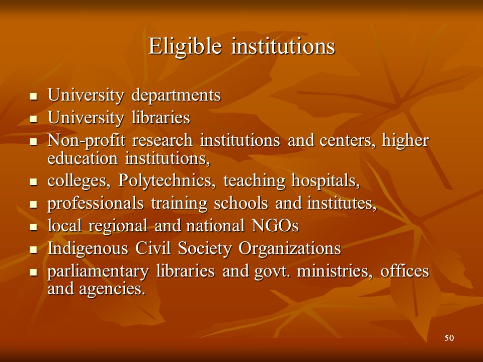 Eligible institutions