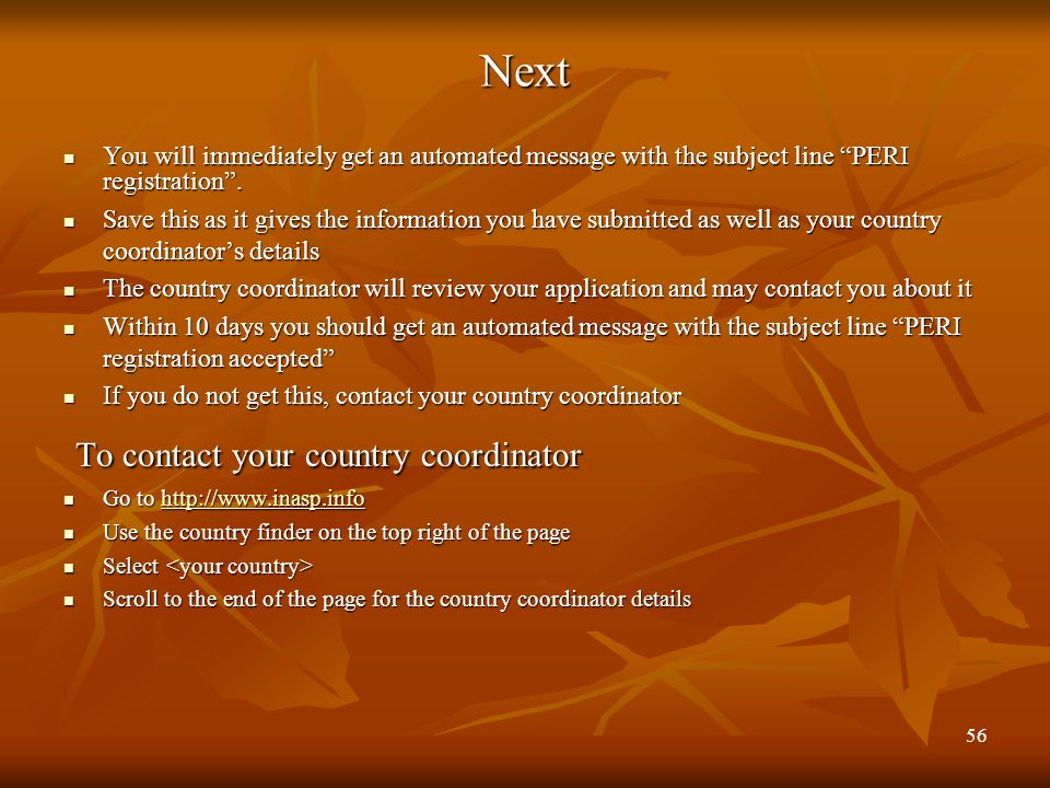 To contact your country coordinator