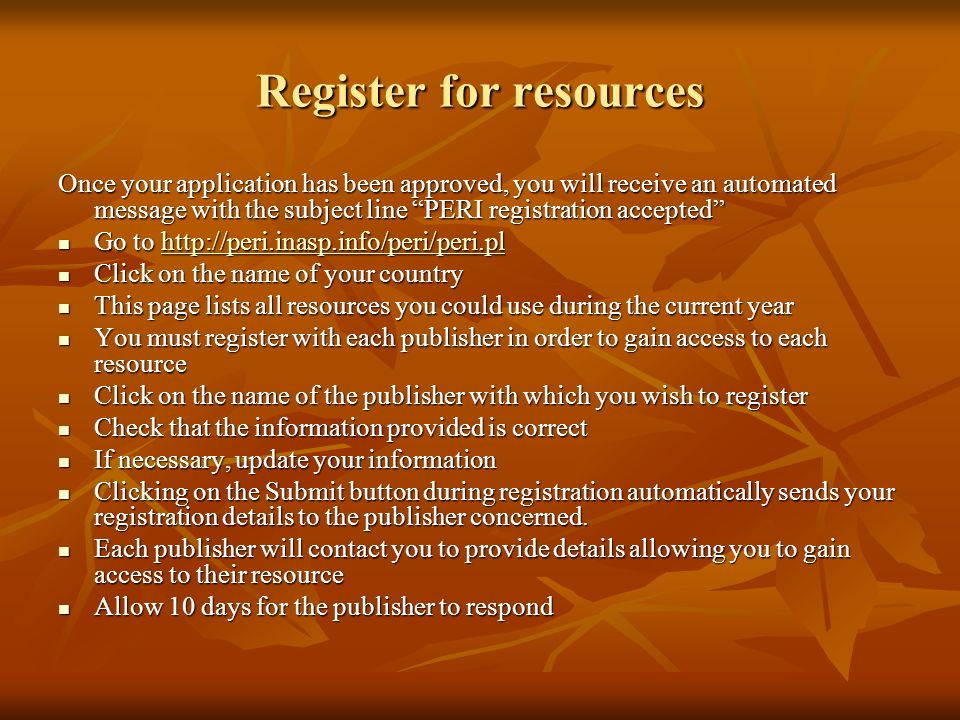 Register for resources