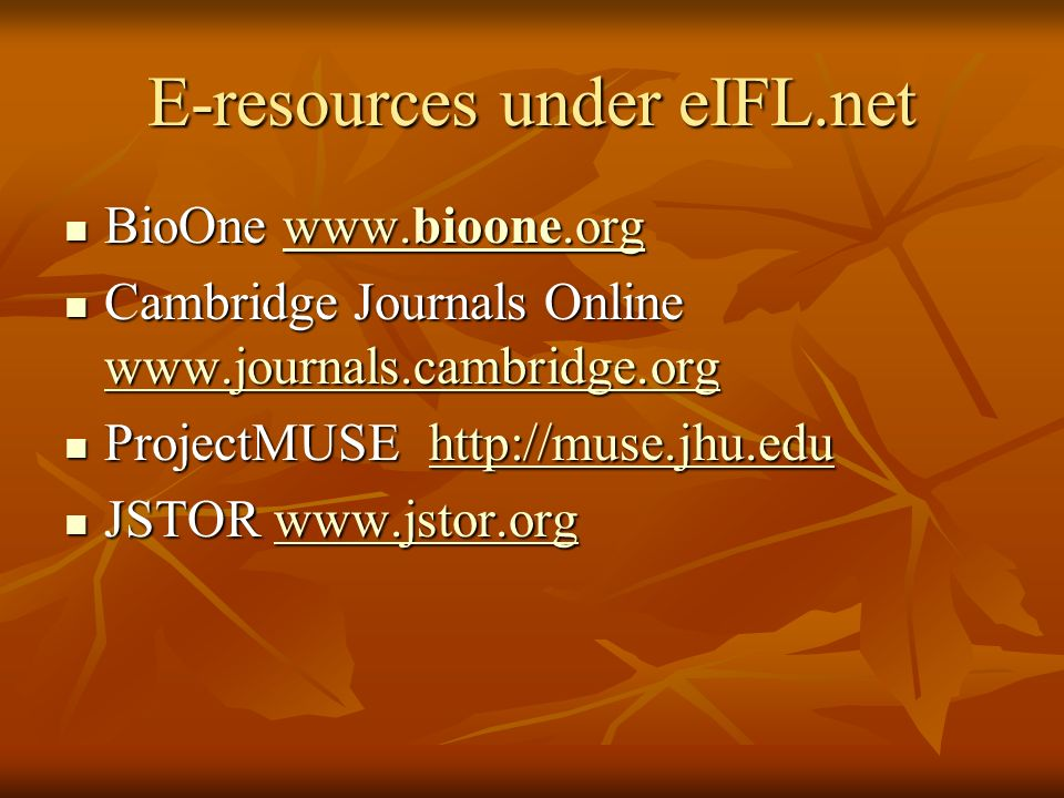 E-resources under eIFL.net