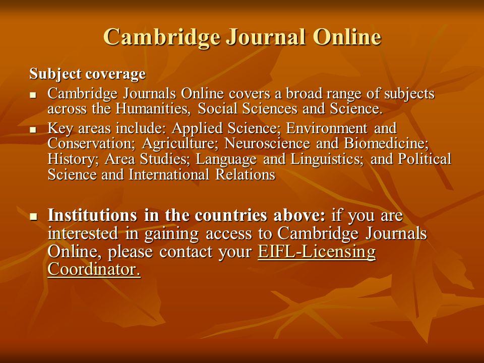 Cambridge Journal Online