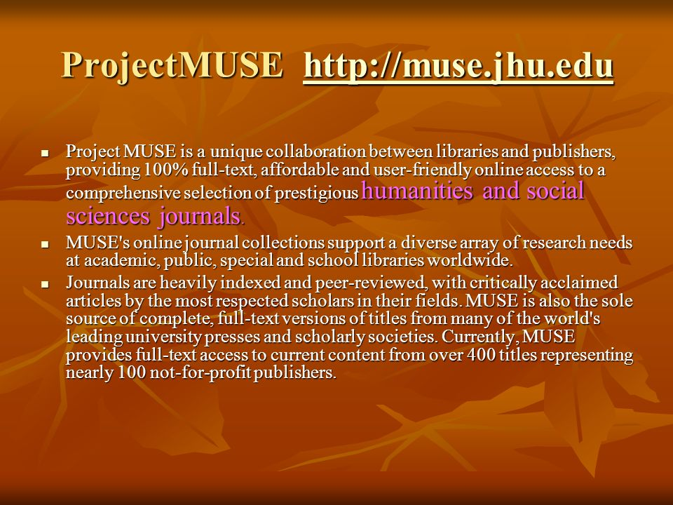 ProjectMUSE http://muse.jhu.edu