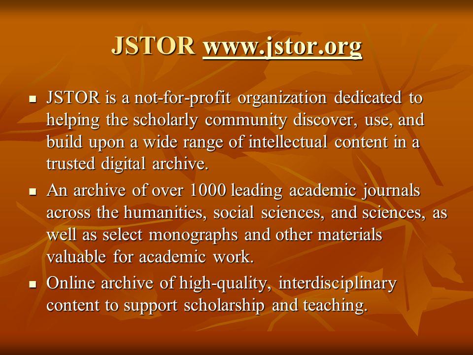JSTOR www.jstor.org