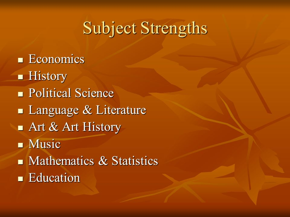 Subject Strengths Economics History Political Science
