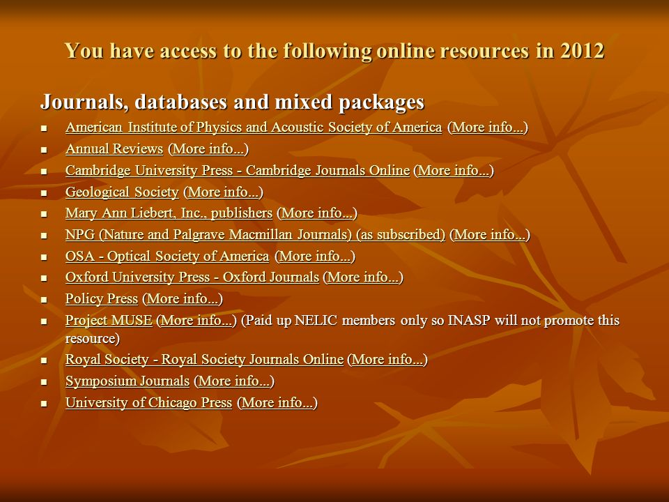 You have access to the following online resources in 2012