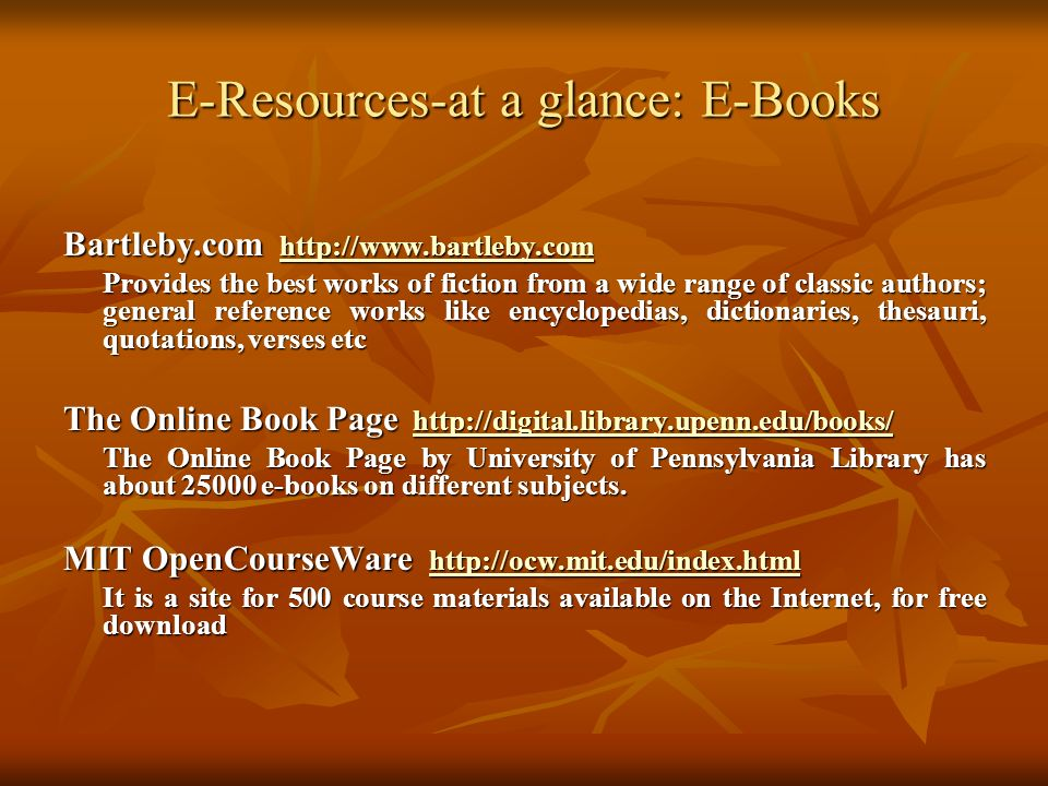 E-Resources-at a glance: E-Books