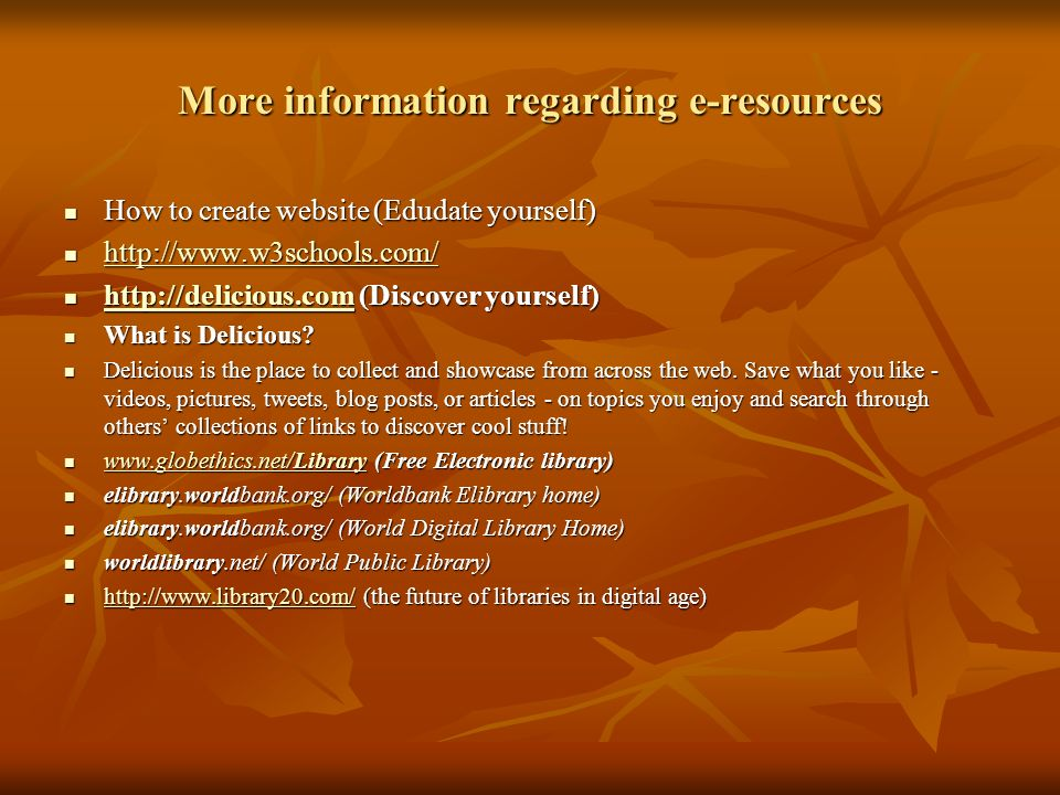 More information regarding e-resources