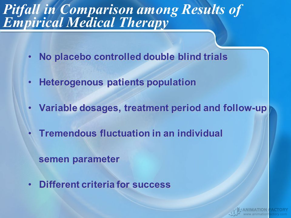 Pitfall in Comparison among Results of Empirical Medical Therapy