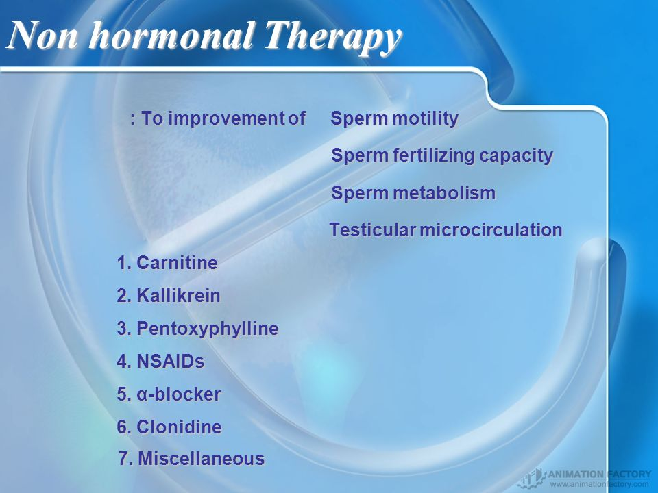 Non hormonal Therapy : To improvement of Sperm motility