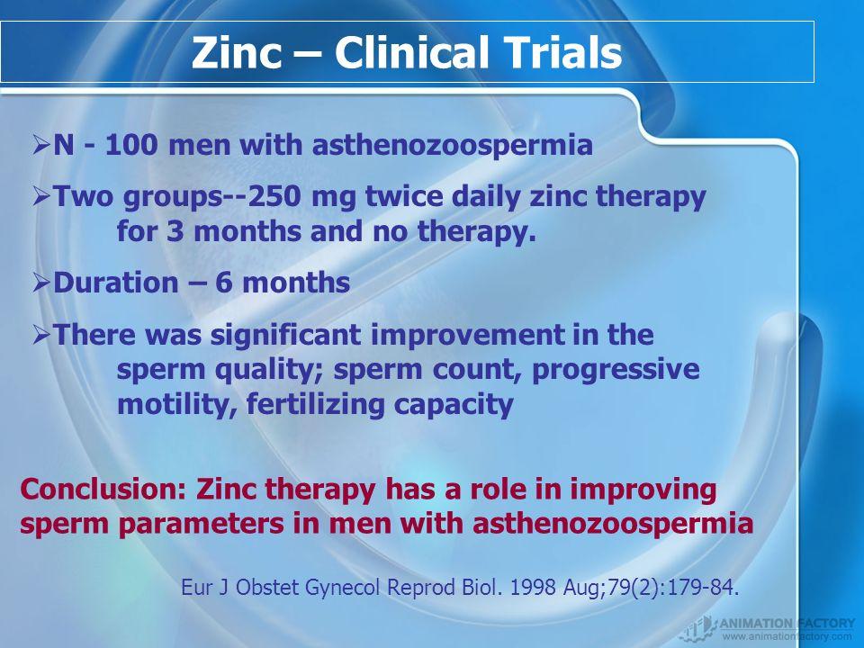 Zinc – Clinical Trials N - 100 men with asthenozoospermia