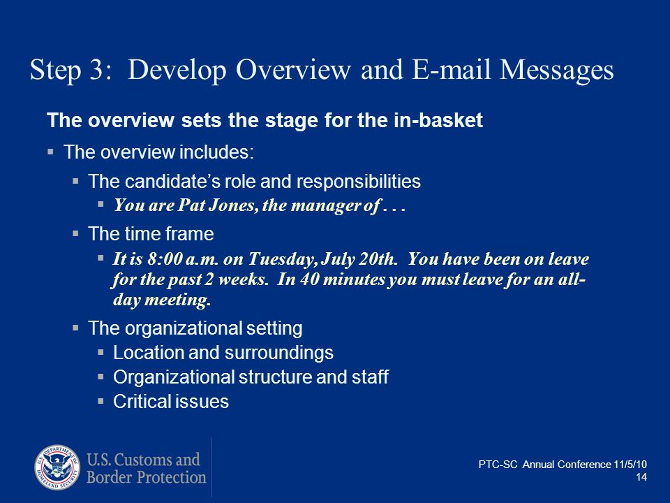 Step 3: Develop Overview and E-mail Messages