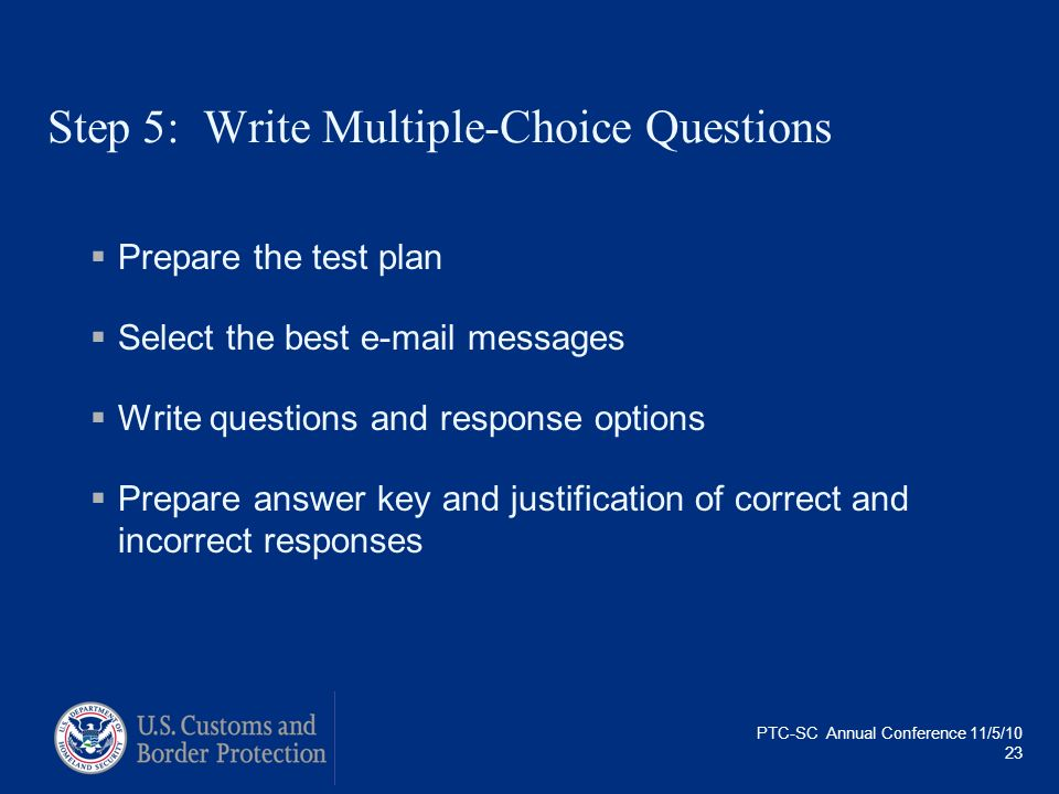 Step 5: Write Multiple-Choice Questions