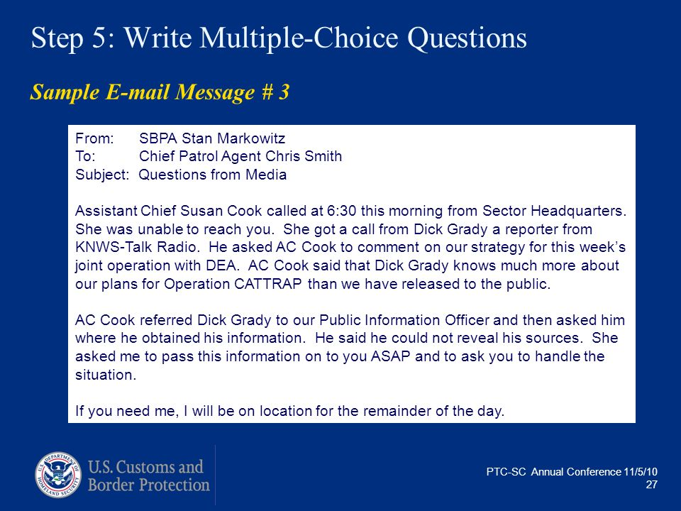 Step 5: Write Multiple-Choice Questions Sample E-mail Message # 3