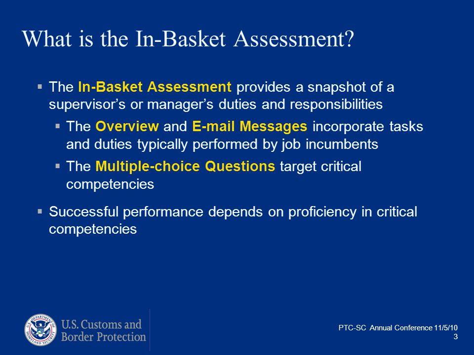 What is the In-Basket Assessment