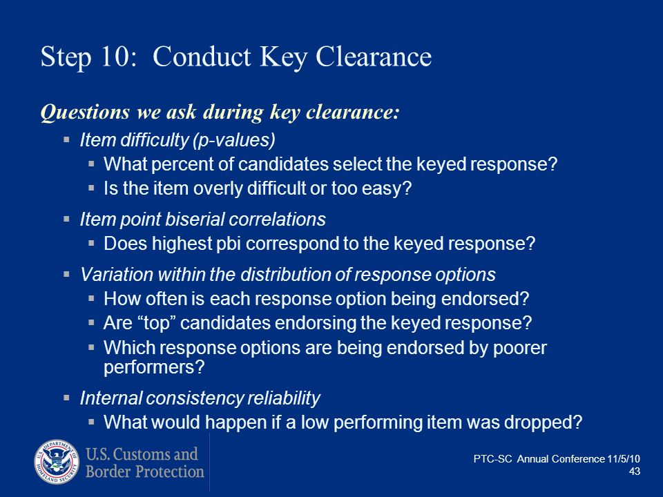 Step 10: Conduct Key Clearance
