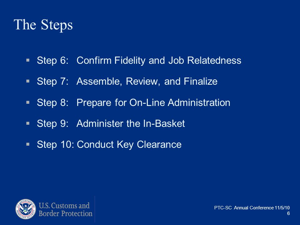 The Steps Step 6: Confirm Fidelity and Job Relatedness