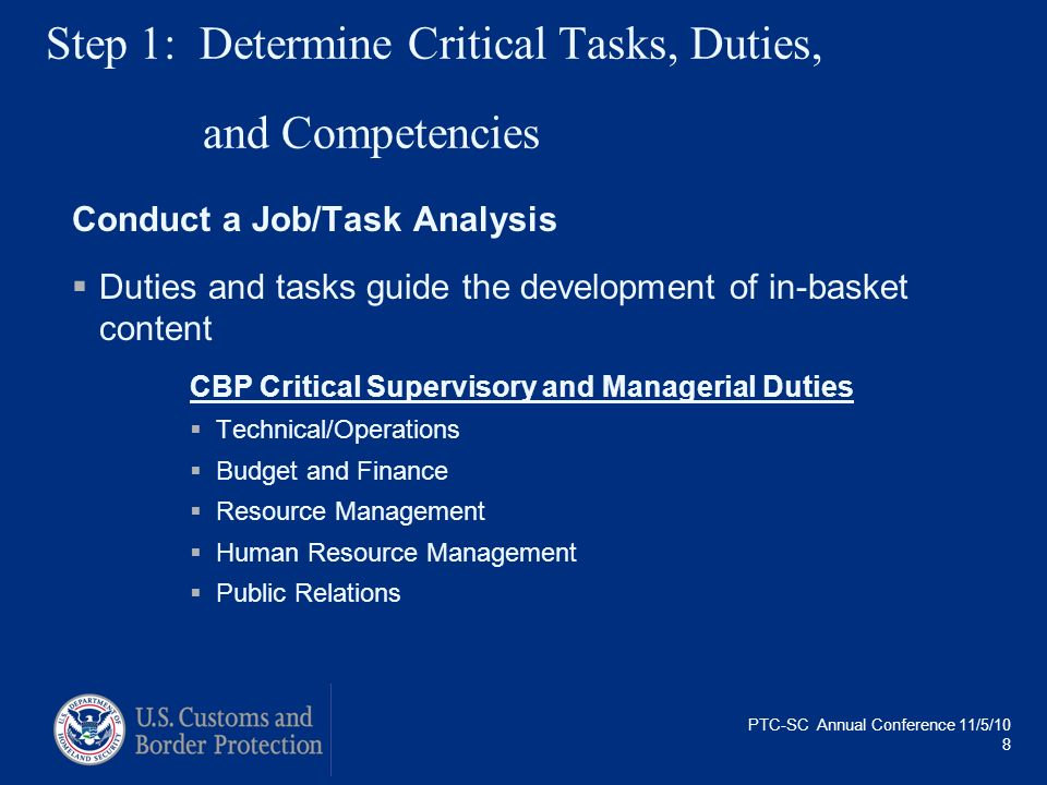 Step 1: Determine Critical Tasks, Duties, and Competencies