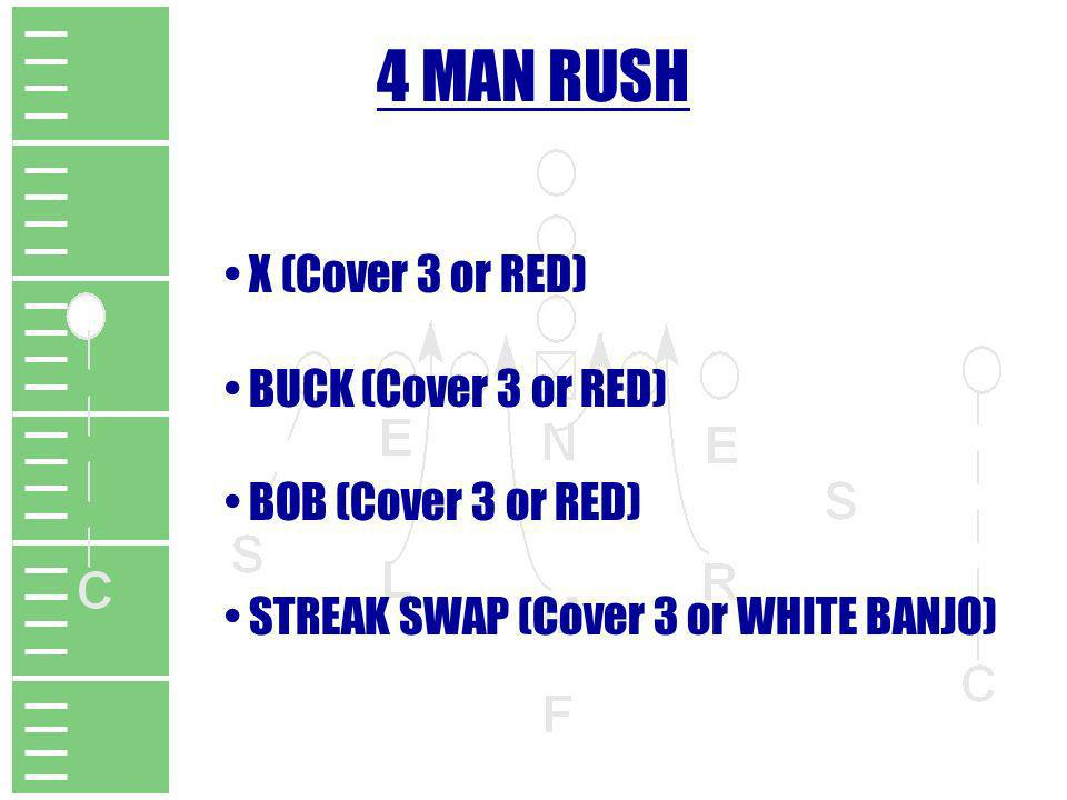 4 MAN RUSH X (Cover 3 or RED) BUCK (Cover 3 or RED)