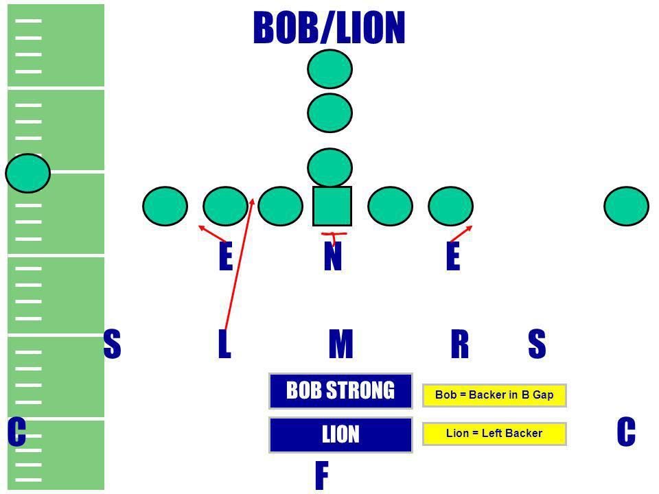 BOB/LION E N E S L M R S C C F BOB STRONG LION Bob = Backer in B Gap