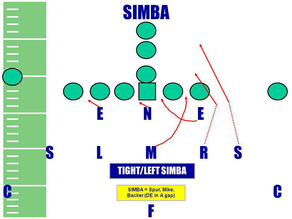 SIMBA = Spur, Mike, Backer (DE in A gap)