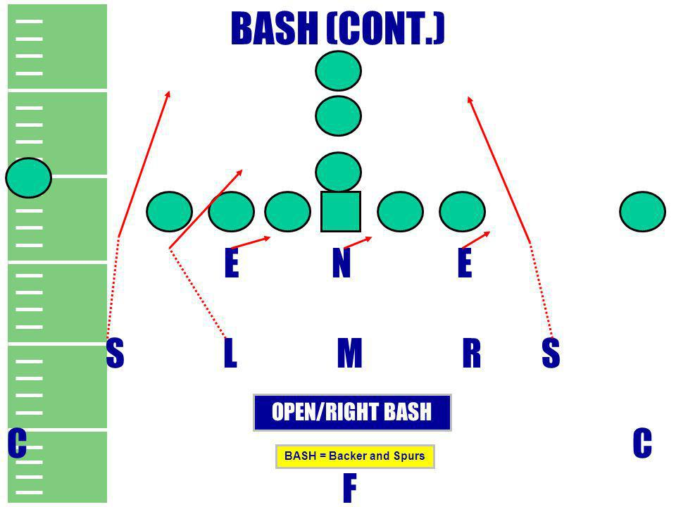 BASH (CONT.) E N E S L M R S C C F OPEN/RIGHT BASH