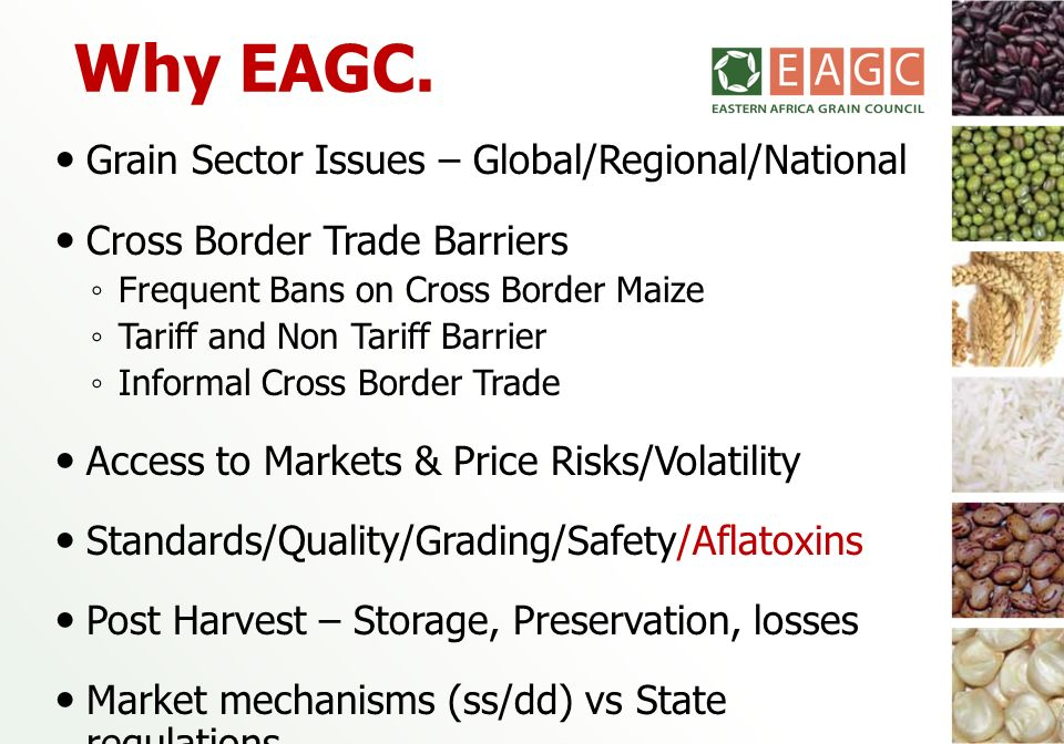 Why EAGC. Grain Sector Issues – Global/Regional/National