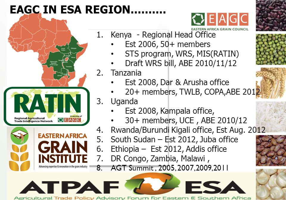 EAGC IN ESA REGION.......... Kenya - Regional Head Office