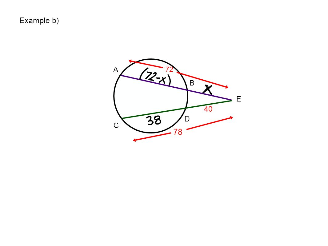Example b) A 72 B 2 E 40 D C 78