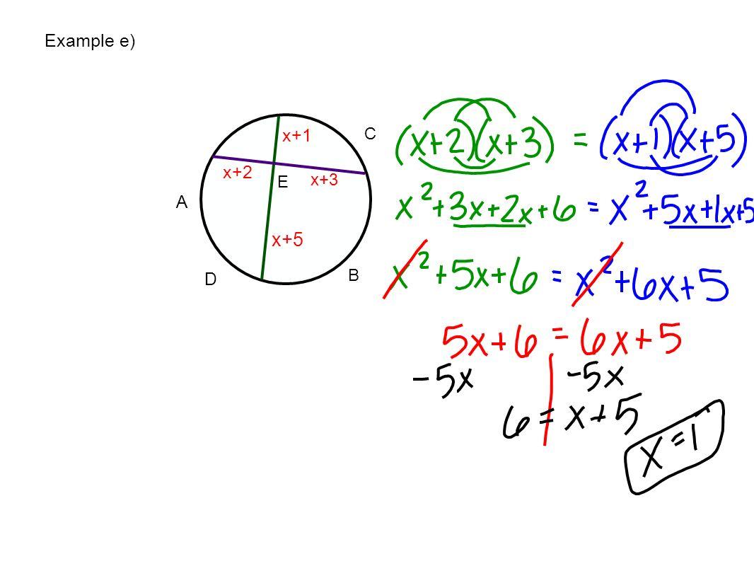 Example e) x+1 C x+2 E x+3 A x+5 D B