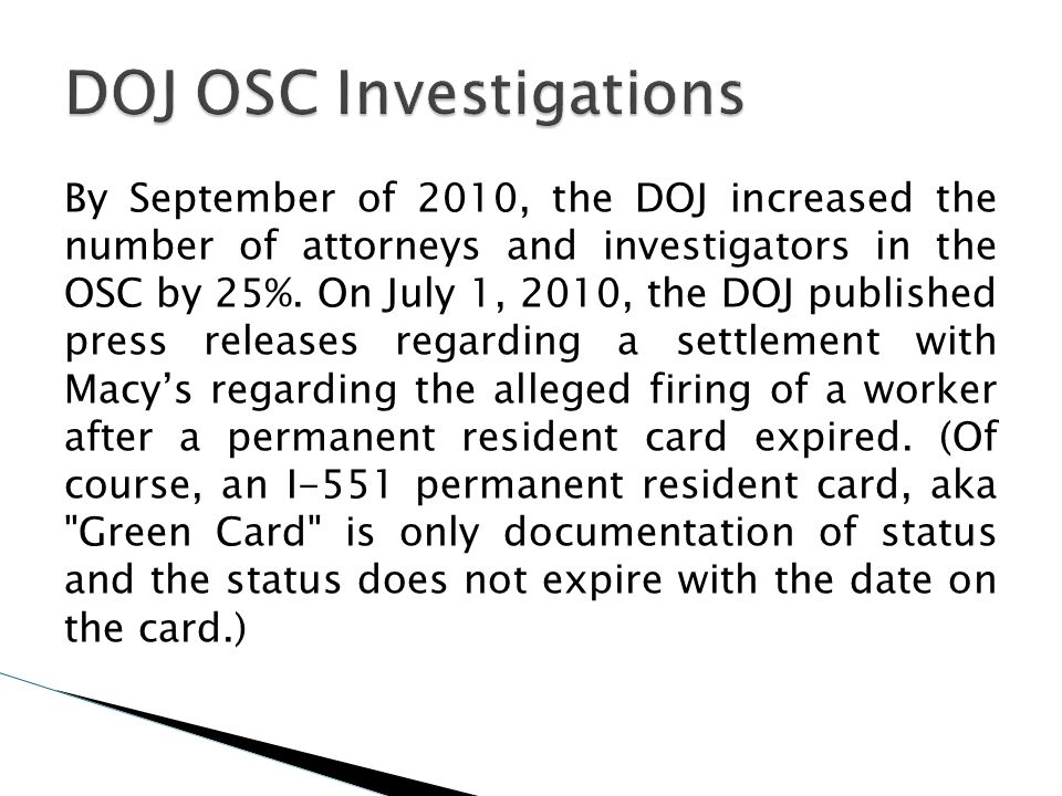 DOJ OSC Investigations