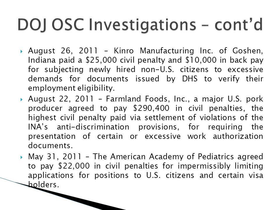 DOJ OSC Investigations – cont'd
