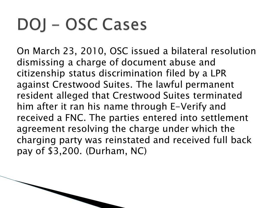 DOJ - OSC Cases