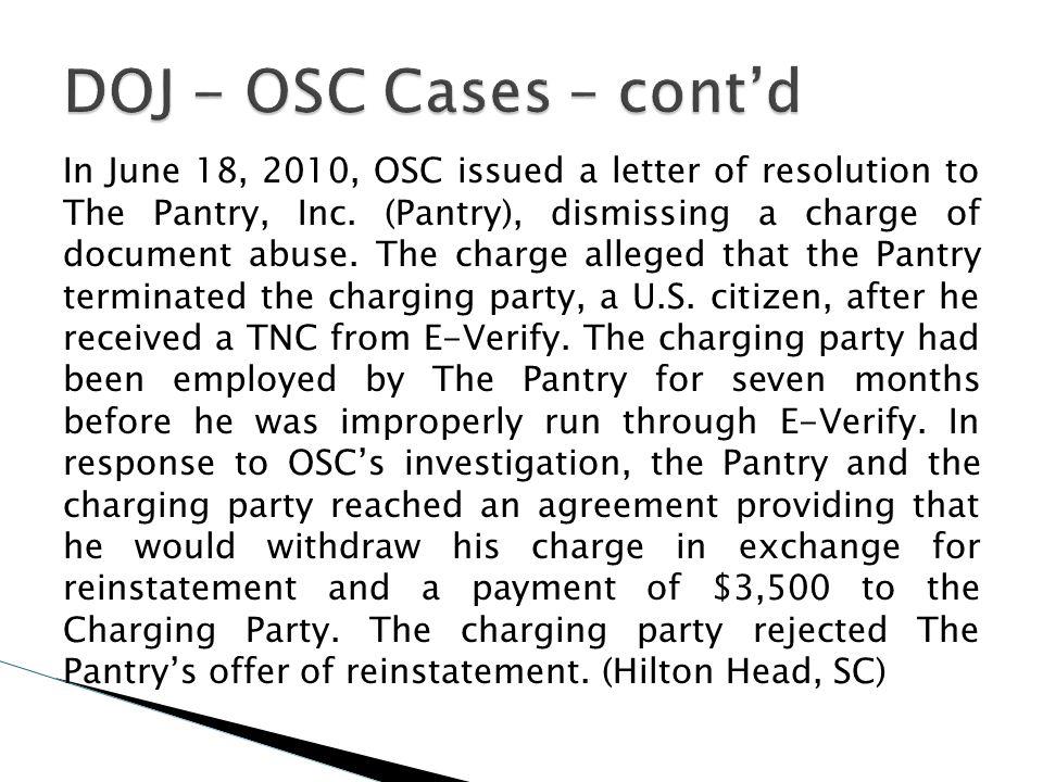 DOJ - OSC Cases – cont'd