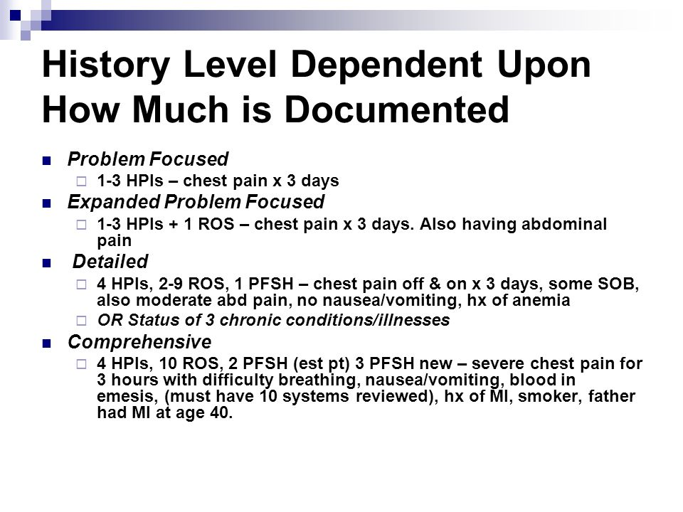 History Level Dependent Upon How Much is Documented