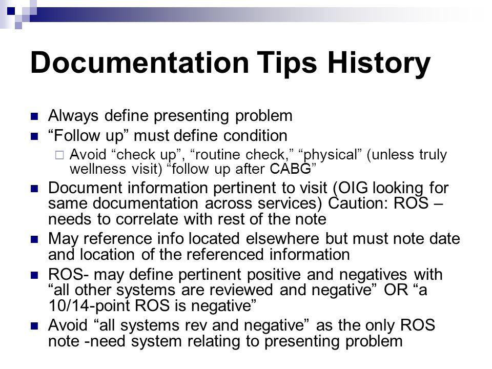 Documentation Tips History